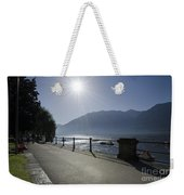 Lakefront With Sun Weekender Tote Bag