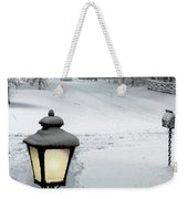 Lamppost In Snow Weekender Tote Bag