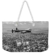 Lancaster City Of Lincoln Over The City Of Lincoln Black And White Weekender Tote Bag
