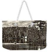 Land Of Lakes Sepia Weekender Tote Bag
