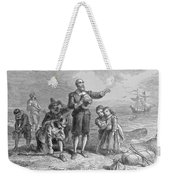 Landing Of The Pilgrims, 1620, Engraved By A. Bollett, From Harpers Monthly, 1857 Engraving B&w Weekender Tote Bag