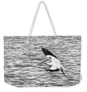 Landing Pelican In Black And White Weekender Tote Bag