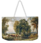 Landscape Cattle In A Stream With Sluice Gate Weekender Tote Bag