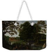 Landscape With A Courtly Procession Before Abtspoel Castle Weekender Tote Bag by Esaias I van de Velde