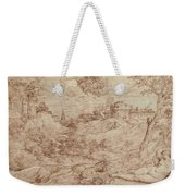 Landscape With A Dragon And A Nude Woman Sleeping Weekender Tote Bag by Titian
