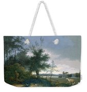 Landscape With A Fox Chasing Geese Weekender Tote Bag