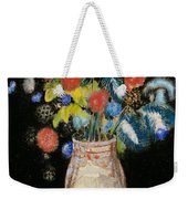 Large Bouquet On A Black Background Weekender Tote Bag by Odilon Redon