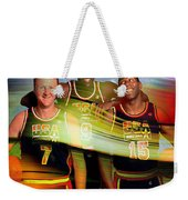 Larry Bird Michael Jordon And Magic Johnson Weekender Tote Bag