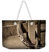 Lasso On Fence Post Rustic Weekender Tote Bag