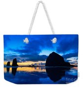 Last Light - Cannon Beach Sunset With Reflection In Oregon The Coast Weekender Tote Bag