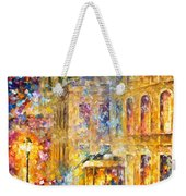 Last Trolley - Palette Knife Oil Painting On Canvas By Leonid Afremov Weekender Tote Bag