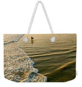Last Wave - Lone Surfer Waiting For The Perfect Wave In Huntington Beach Weekender Tote Bag