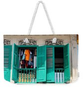 Laundry Hanging Seen Through Open Wood Shutter Windows Singapore Weekender Tote Bag
