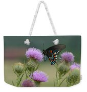 Lavender Thistle And Pipevine Swallowtail Butterfly Weekender Tote Bag