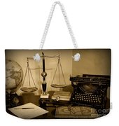 Lawyer - The Lawyer's Desk In Black And White Weekender Tote Bag