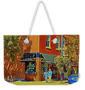 Le Fouvrac Foods Chocolates And Coffee Shop Corner Garnier And Laurier Montreal Street Scene Weekender Tote Bag