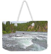 Le Hardy Rapids In Yellowstone River In Yellowstone National Park-wyoming   Weekender Tote Bag