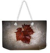 Leaf In Snow Weekender Tote Bag