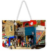 Leather Garments Cuir Monde Mont Royal Scala Pour Hommes Busy Montreal City Scene Carole Spandau  Weekender Tote Bag