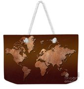 Leather World Map Weekender Tote Bag