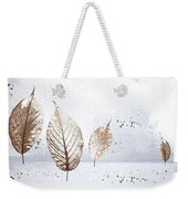 Leaves In Snow Weekender Tote Bag