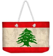 Lebanon Flag Vintage Distressed Finish Weekender Tote Bag