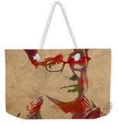 Leonard Hofstadter Watercolor Portrait Big Bang Theory On Distressed Worn Canvas Weekender Tote Bag