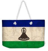 Lesotho Flag Vintage Distressed Finish Weekender Tote Bag