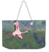 Lesser Flamingo Phoenicopterus Minor Flying Weekender Tote Bag