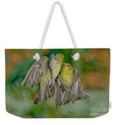Lesser Goldfinch Females Fighting Weekender Tote Bag