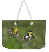 Lesser Goldfinch Pair In Flight Weekender Tote Bag