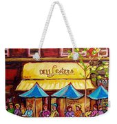 Lester's Deli Montreal Smoked Meat Paris Style French Cafe Paintings Carole Spandau Weekender Tote Bag