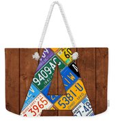 Letter A Alphabet Vintage License Plate Art Weekender Tote Bag by Design Turnpike
