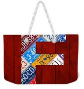Letter F Alphabet Vintage License Plate Art Weekender Tote Bag