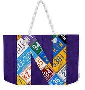 Letter N Alphabet Vintage License Plate Art Weekender Tote Bag
