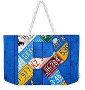 Letter R Alphabet Vintage License Plate Art Weekender Tote Bag by Design Turnpike