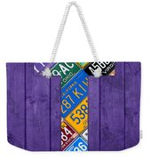 Letter T Alphabet Vintage License Plate Art Weekender Tote Bag