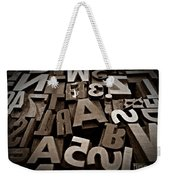 Letters And Numbers Sepia 2 Weekender Tote Bag