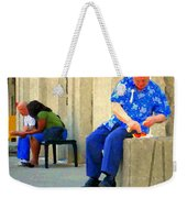 L'homme Orange Quiet Corner On St Catherine Street Downtown Montreal City Scene Carole Spandau Weekender Tote Bag