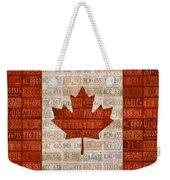 License Plate Art Flag Of Canada Weekender Tote Bag