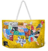License Plate Art Map Of The United States On Yellow Board Weekender Tote Bag