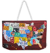License Plate Art Map Of The Usa Edition 14 By Design Turnpike Weekender Tote Bag by Design Turnpike
