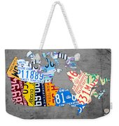 License Plate Map Of Canada On Gray Weekender Tote Bag