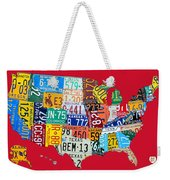 License Plate Map Of The United States On Bright Red Weekender Tote Bag