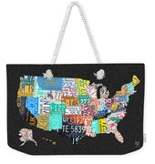 License Plate Map Of The United States On Gray Felt With Black Box Frame Edition 14 Weekender Tote Bag