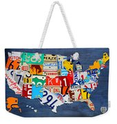 License Plate Map Of The United States - Small On Blue Weekender Tote Bag