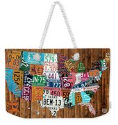 License Plate Map Of The United States - Warm Colors On Pine Board Weekender Tote Bag by Design Turnpike