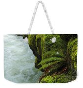 Lichen Covered Rocks With Stream In Oregon Weekender Tote Bag