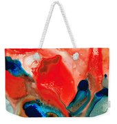 Life Force - Red Abstract By Sharon Cummings Weekender Tote Bag by Sharon Cummings
