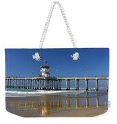 Life Guard Station Reflection On Ocean Sand At Huntington Beach City Pier Fine Art Photography Print Weekender Tote Bag